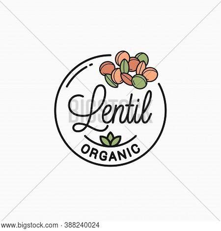 Lentil Logo. Round Linear Logo Of Lentil On White