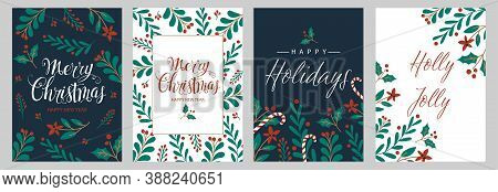 Set Christmas Cards With Christmas Tree, Wreath, Christmas Decorations. Vector