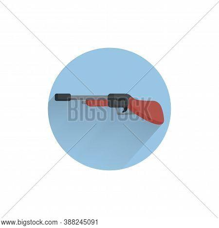 Shotgun Colorful Flat Icon With Long Shadow. Shotgun Flat Icon