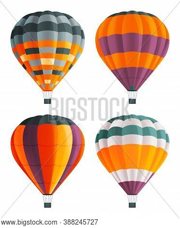 Set Of Colorful Balloon For Flights. Hot Aircraft. Flying In The Clouds On Bright Airship. Cartoon A