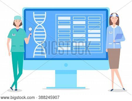 Concept Of Web Page Of Medical Website. Dna Spiral And Text Block At Site. Medical Staff Standing Ne