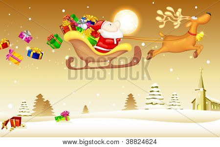 illustration of Santa Claus riding in sledge with Christmas gift