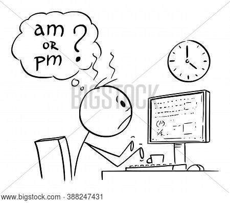 Vector Cartoon Stick Figure Drawing Conceptual Illustration Of Tired Or Frustrated Office Worker, Ma