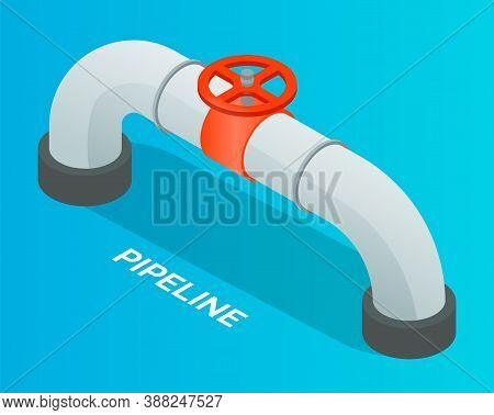 Oil Petroleum Industry. Pipeline, Isometric Industrial Symbol. Oil, Gas Or Water Flowing Through Pip