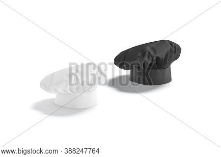Blank Black And White Chef Hat Mockup Stand, Side View, 3d Rendering. Empty Traditional French Kitch