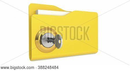 Unlock The Yellow Folder. Data Security Concept, 3d Rendering