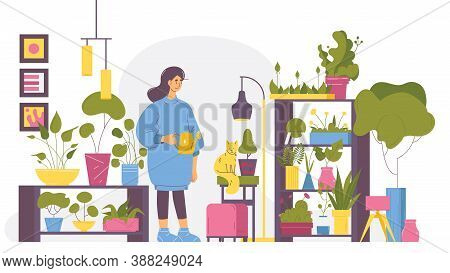 Young Woman At Home Full Of Greenery, Flowerpots And Interior Trees. Cosy House, Character In Casual