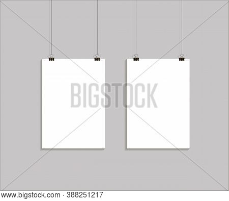 Vector Template Of 2 Poster On Clips . Vertical Blank A4 Mock Up Advertising Banner