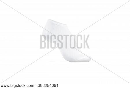 Blank White Low Cut Sock On Tiptoe Mockup, Side View, 3d Rendering. Empty Sport Fabric Liner Sox Moc