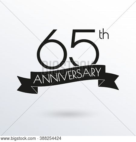 65 Years Anniversary Logo With Ribbon. 65th Anniversary Celebration Label. Design Element For Birthd