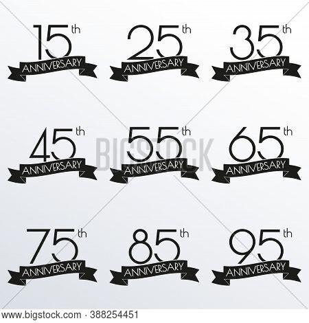 Anniversary Logo Set. 15,25,35,45,55,65,75,85,95 Anniversary Celebration Label With Ribbon. Design E