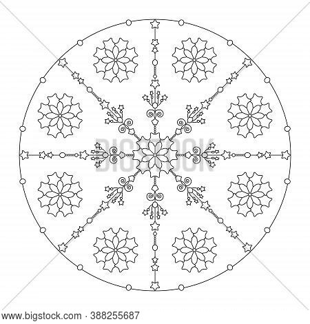 Christmas Coloring Page. Mandala Stars And Abstract. Art Therapy. Black And White. Vector Illustrati