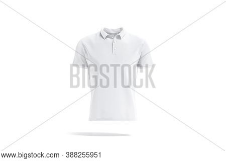 Blank White Polo Shirt Mockup, Front View, 3d Rendering. Empty Casual Poloshirt With Button And Coll