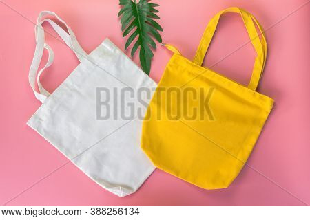 White And Yellow Tote Bag Canvas Fabric, Cloth Shopping Sack Mockup,eco Concept.