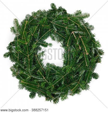 Christmas green framework empty fir tree wreath isolated on white background