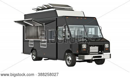 Food Truck Eatery Cafe On Wheels. 3d Isolated White Background