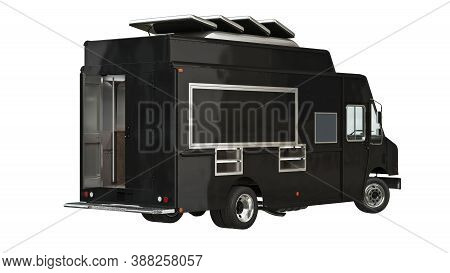 Food Yellow Car Eatery On Wheels. 3d Isolated White Background