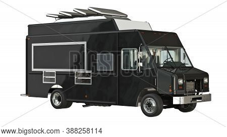 Food Truck Eatery Cafe Yellow. 3d Isolated White Background