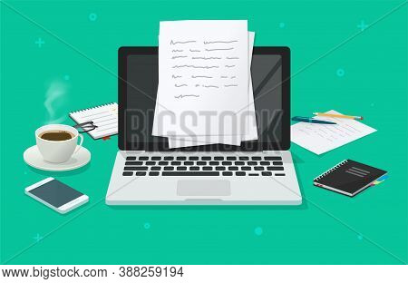 Writing Text Content Creating Vector On Education Working Desk Table Online Via Computer Laptop, Cre