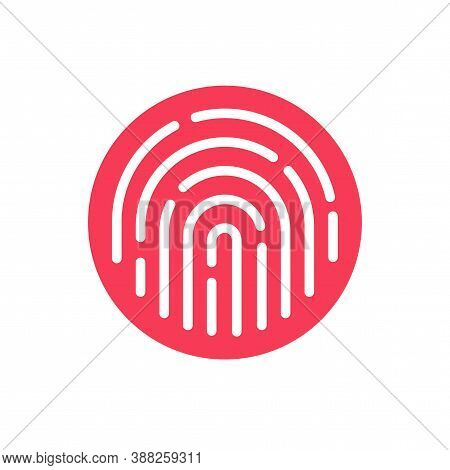 Fingerprint Security Button Icon Vector, Touch Finger Thumb Print Id Symbol For Biometric Thumbprint