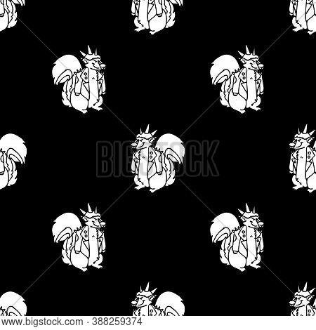 Cute Punk Rock Skunk Monochrome Lineart On Black Background Vector Pattern. Grungy Alternative Check
