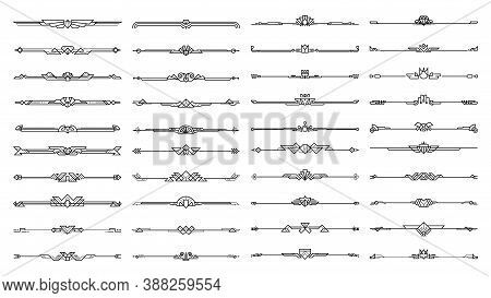 Set Of Art Deco Calligraphic Page Dividers. Vector Black Flourishes Page Decoration Vignettes. Heade