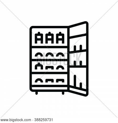 Black Line Icon For Storage Stock Goods Products Stockpile Storehouse Keeping Refrigerator