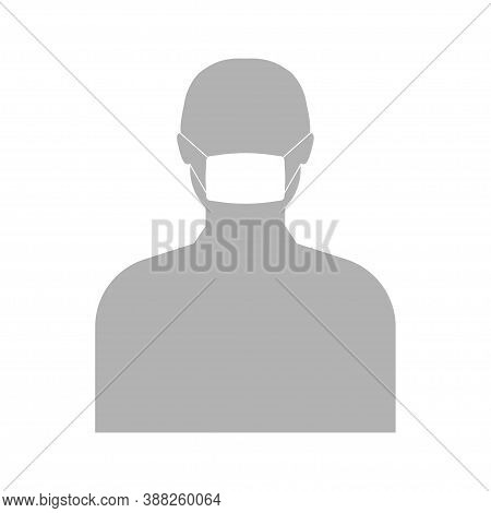 Man In Face Mask Icon Logo Vector On White Background. Wear Cover Mouth With Facemask. Surgical Prot
