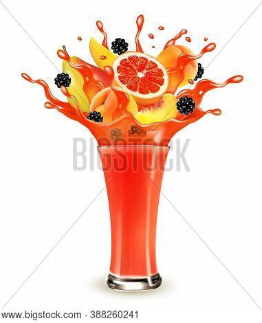 Red Berry Juice Splash. Whole And Sliced Blackberry, Cherry, Peach, Pear And Grapefruit In A Sweet J