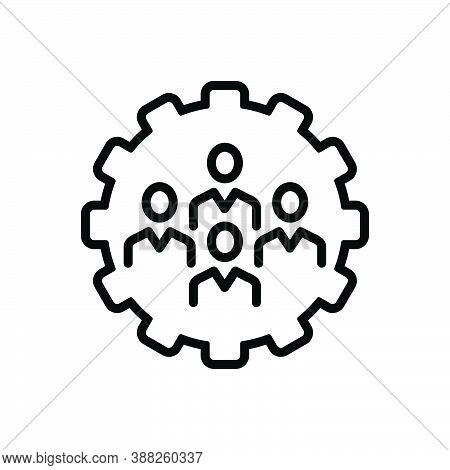 Black Line Icon For Cooperation Co-operation Collaborate Conjunction Unity Teamwork Group People Pro