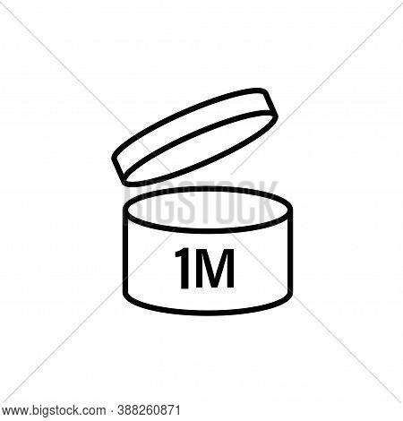 Pao Symbol Shelf Life Vector Icon. Cosmetic Open Period Use Logo. 3, 6, 12, 24, 36, 3m, 6m, 12m, 24m