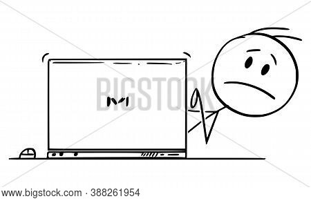 Cartoon Stick Figure Drawing Conceptual Illustration Of Sad Or Frustrated Man, Office Worker Or Busi