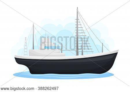 Regular Ship With Cabin As Water Transport Vector Illustration