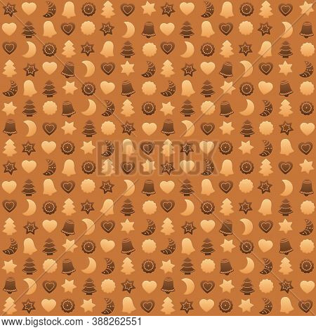 Christmas Cookies Wallpaper, Shortbread And Gingerbread Symbols, Typical Shapes Like Christmas Trees