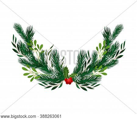 Evergreen Branches Of Coniferous Tree And Mistletoe Arranged In Semicircular Vector Composition
