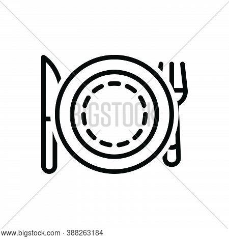 Black Line Icon For Plate Setting Fork Catering Dishware Restaurant Equipment Luncheon Spoon Porterh