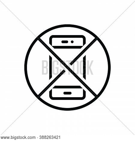 Black Line Icon For Avoid Ban Smartphone Restriction Disallowed Forbid Exhibition