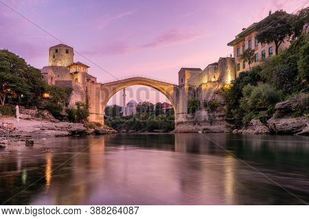 Stari Most bridge at dawn in old town of Mostar, Bosnia and Herzegovina. Mostar cityscape at summer
