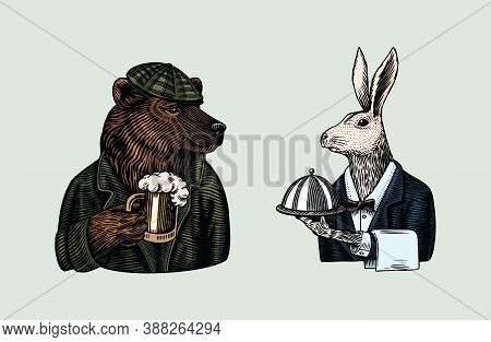 Grizzly Bear With A Beer Mug. Hare Waiter. Brewer With A Glass Cup. Fashion Animal Character. Rabbit