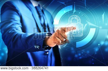 Businessman's Touch Screen Lock With The Most Advanced Security System To Access High-tech Systems.
