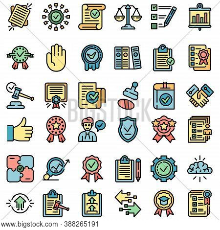 Standard Icons Set. Outline Set Of Standard Vector Icons Thin Line Color Flat On White