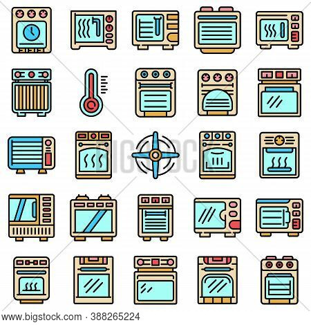 Convection Oven Icons Set. Outline Set Of Convection Oven Vector Icons Thin Line Color Flat On White