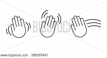 Hello Goodbye Waving Hand Vector. Hi Bye Hey Gesture Outline. Farewell Palm Movement Sign. Raised Mo