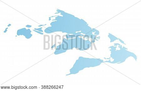 World Map Vector Simplified Image. Cartoon Blue Continents Or Mainlands. Illustration Of A Flat Grad
