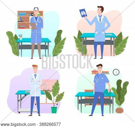Veterinarian In Office In Vet Clinic, Man Medical Staff Wearing Suit Standing Near Table For Animal,