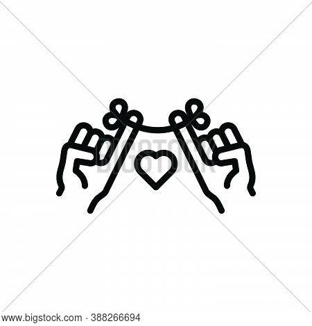 Black Line Icon For Promise Obligation Pledge Oath Bond Commitment Trustworthy Pact Assure Swear-off