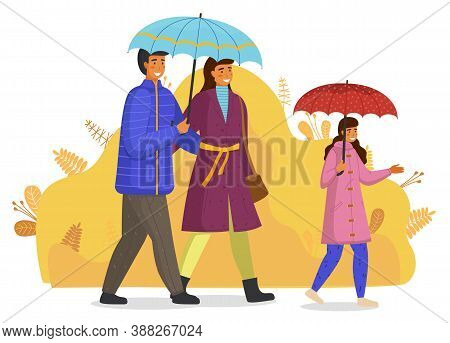 Family With Umbrellas Walking At Abstract Background, Mother, Father, Daughter Wearing Warm Clothes