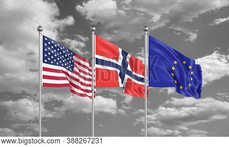 Three Realistic Flags. Three Colored Silky Flags In The Wind: Usa (united States Of America), Eu (eu
