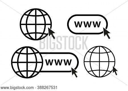 Online Internet Icon Website Symbol Set Vector Illustration. Www Site Access. Web Net World Globe In