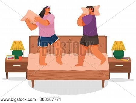 Couple Fighting Pillows, Playing Childhood Game, Have Fun Together At Home, Man And Woman Rejoice St